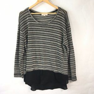 Two by Vince Camuto Black White Blouse Sweater